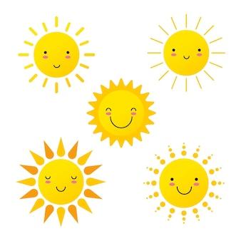 Niedliche sonnen sonnenschein emoji lächelnde gesichter vektorgrafik