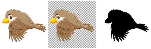 Niedliche sperlingsvogelkarikaturfigur
