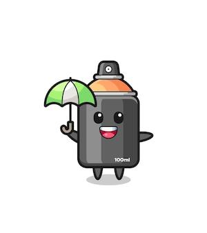 Niedliche sprühfarbe illustration mit regenschirm, süßes design für t-shirt, aufkleber, logo-element