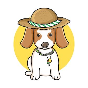 Niedliche spürhundhundekarikatur mit sommerhut