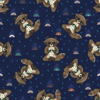 Niedliche stammes-waschbären. nahtloses muster