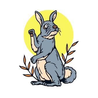 Niedliche stehende kaninchen-alte schultätowierung