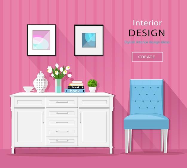 Niedliche stilvolle zimmerinnenmöbel: kommode, stuhl, bilder mit langen schatten. illustration.