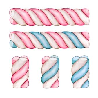 Niedliche süßigkeiten wirbeln marshmallow-pastell-leckereien