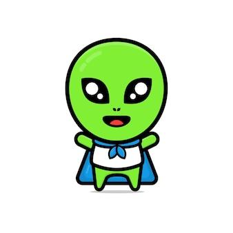 Niedliche super-alien-cartoon-illustration