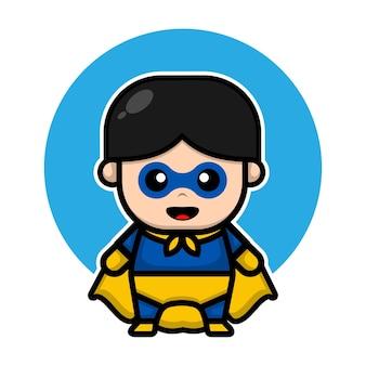 Niedliche superheld-design-cartoon-illustration