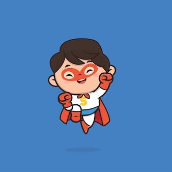 Niedliche superhelden-charakterillustration