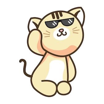 Niedliche swag-katze mit schwarzer brille, die kätzchen-puppe creme-ingwer-katze sitzt