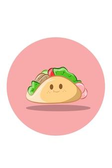 Niedliche taco-illustration