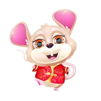 Niedliche tanzende maus kawaii zeichentrickfigur. chinesisches neujahrs-sternzeichen. entzückendes, lustiges tier im isolierten aufkleber des traditionellen roten kostüms, fleck. anime baby ratte emoji auf weißem hintergrund