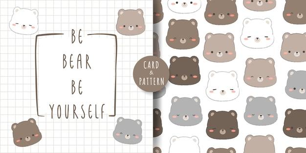 Niedliche teddybär- und eisbärkopf-karikatur-gekritzelkarte und nahtloses muster