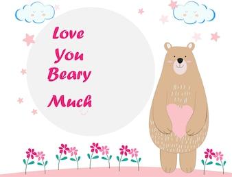 Niedliche Teddybär Cartoon Geburtstagskarte