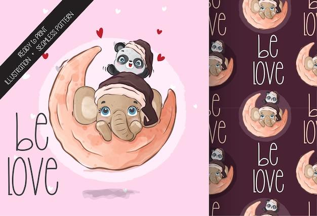 Niedliche tierbabypandas mit elefanten glücklich auf dem nahtlosen muster des mondes. nettes cartoon-tier.