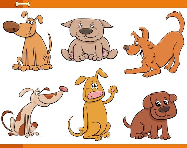 Niedliche tiercharaktere der hunde und welpen eingestellt