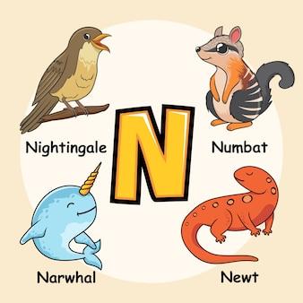 Niedliche tiere alphabet buchstabe n.