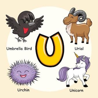 Niedliche tiere alphabet buchstabe u.