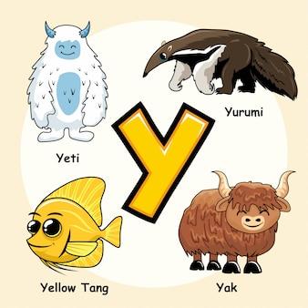 Niedliche tiere alphabet buchstabe y.