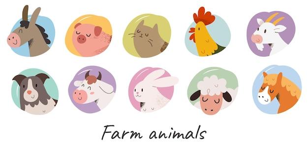 Niedliche tiere auf dem bauernhof avatar illustrationen
