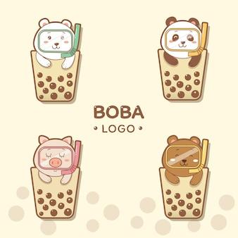 Niedliche tiere boba logo cartoon hand zeichnen.