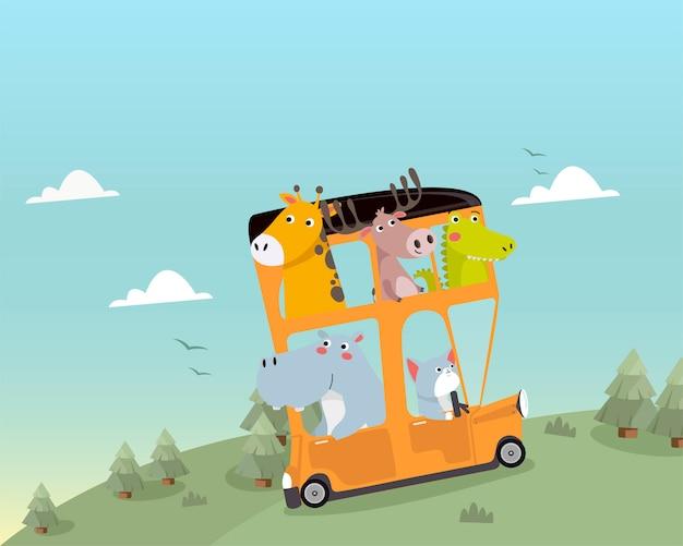 Niedliche tiere, die mit dem bus reisen