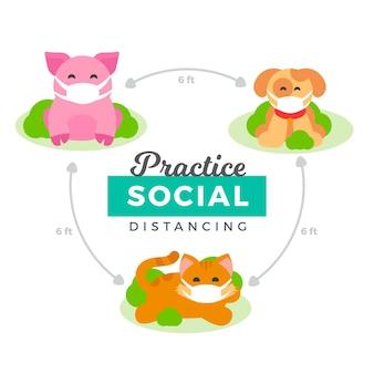 Niedliche tiere, die soziale distanzierung üben