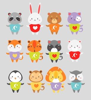 Niedliche tiere eingestellt. kleines kaninchen, fuchs, tiger im farbpyjama isolierte zeichentrickfiguren.
