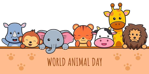 Niedliche tiere feiern welttiertag cartoon-symbol clipart-illustration. entwerfen sie isolierten flachen cartoon-stil