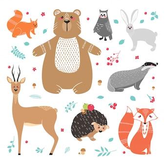 Niedliche tiere: fuchs, dachs, eichhörnchen, eule, hirsch, reh, reh, hase, kaninchen, igel, bär und verschiedene elemente. illustration hand gezeichnet