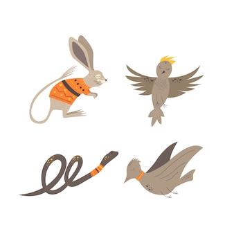 Niedliche tiere im skandinavischen stil. handzeichnung