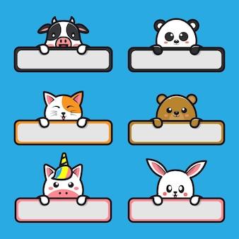 Niedliche tiere mit etikettennamen-cartoon-illustration Premium Vektoren