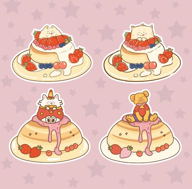 Niedliche tiere mit kuchen