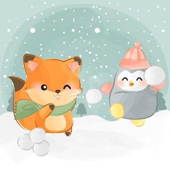 Niedliche tiere schneeballschlacht