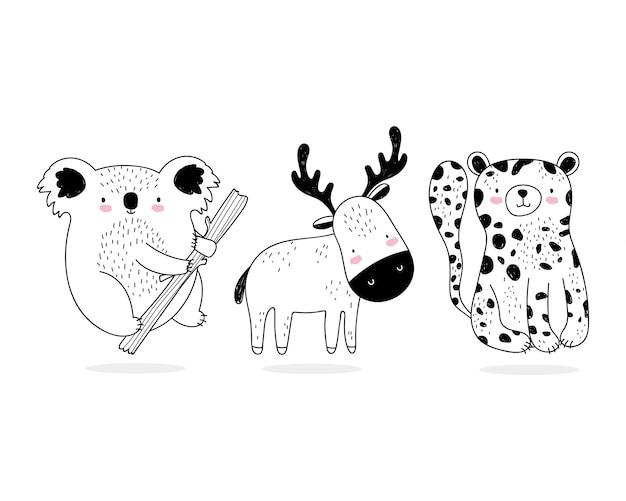 Niedliche tiere skizzieren wildtierkarikatur entzückenden leoparden