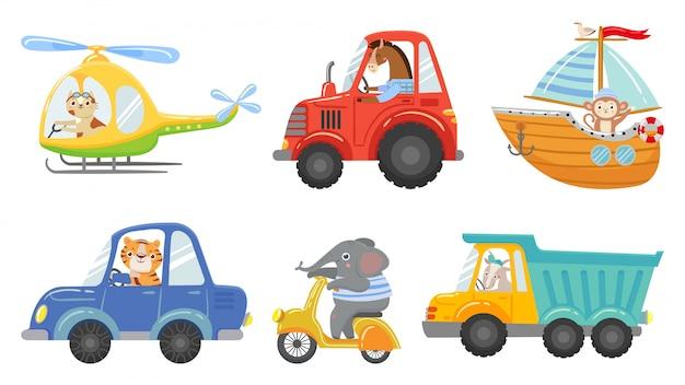 Niedliche tierfahrer. tierfahrendes auto, traktor und lkw. spielzeughubschrauber, segelboot und städtischer rollerkarikatur-vektorillustrationssatz