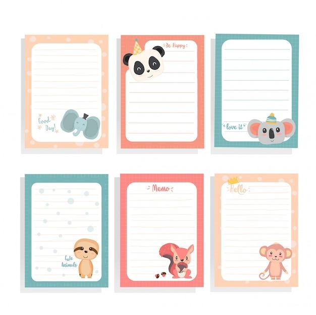 Niedliche tierfaultier des handabgehobenen betrages, panda, eichhörnchen, koala, affe auf briefpapiersammlung