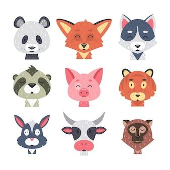 Niedliche tiergesichter eingestellt. hand gezeichnete tierfiguren. fuchs, panda, kaninchen, tiger, schwein, wolf, kuh, affe, faultier. säugetierkinder.