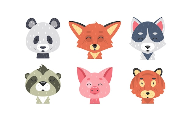Niedliche tiergesichter eingestellt. hand gezeichnete tierfiguren. fuchs, panda, tiger, schwein, wolf, faultier. säugetierkinder.