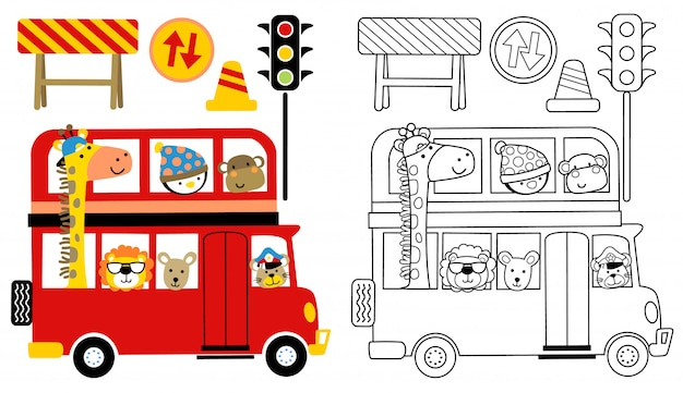 Niedliche tierkarikatur auf rotem bus