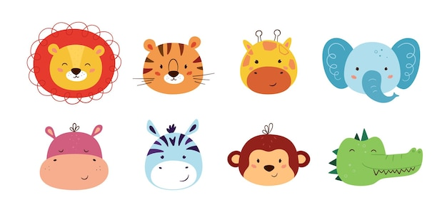 Niedliche tierkawaii-charaktere. lustiger löwe, tiger, giraffe, elefant, affe, nilpferd, zebra, krokodil