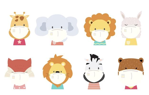 Niedliche tierobjektsammlung mit löwen-, fuchs-, zebra-, tiger-, elefanten-, lama tragen maske. illustration zur verhinderung der ausbreitung von bakterien, coronviren