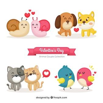 Niedliche tierpaarsammlung des valentinsgrußes