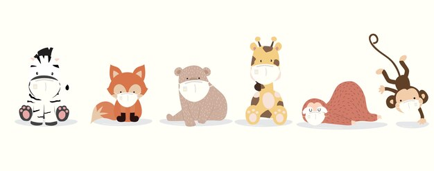 Niedliche tiersammlung mit faultier, giraffe, fuchs, zebra, affe, bären tragen maske.