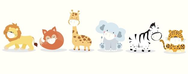 Niedliche tiersammlung mit löwe, giraffe, fuchs, zebra, elefant, leoparden tragen maske.