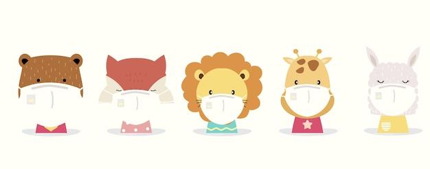 Niedliche tiersammlung mit löwen-, fuchs-, lama-, bären-, giraffentragemaske.