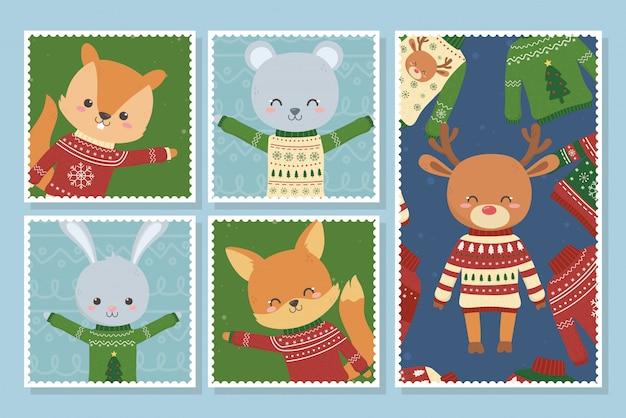 Niedliche tierweihnachtshässliche strickjacken-partypostkarten