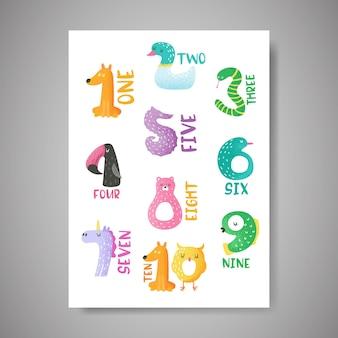 Niedliche tierzahlen von 1 bis 10 handgezeichnete vektorillustration für kinderzimmerplakat, babyeinladungskarte, aufkleber, flyer, grüße, wandkunst