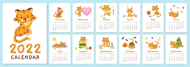 Niedliche tiger 2022 kalender chinesisches neujahr tiger symbol vektor vorlage