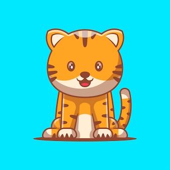 Niedliche tiger-cartoon-vektor-illustration. konzept zum welttierschutztag
