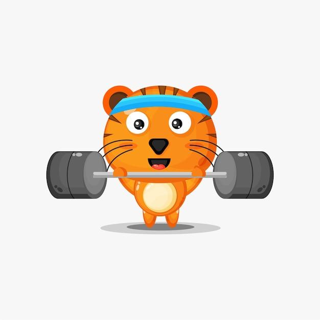 Niedliche tigergymnastik-fitness