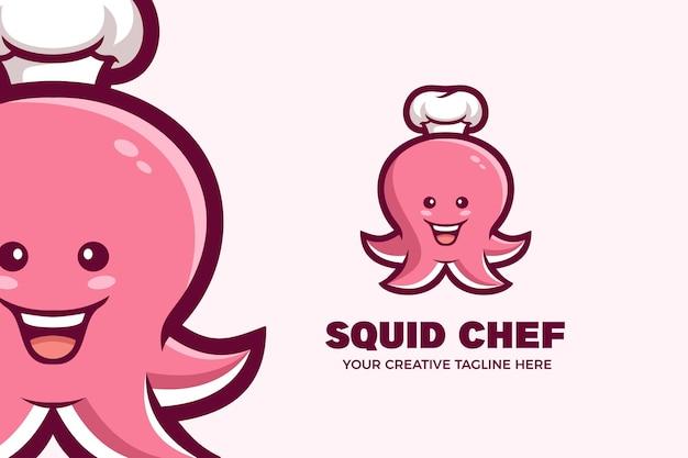 Niedliche tintenfisch-chef-maskottchen-charakter-logo-vorlage